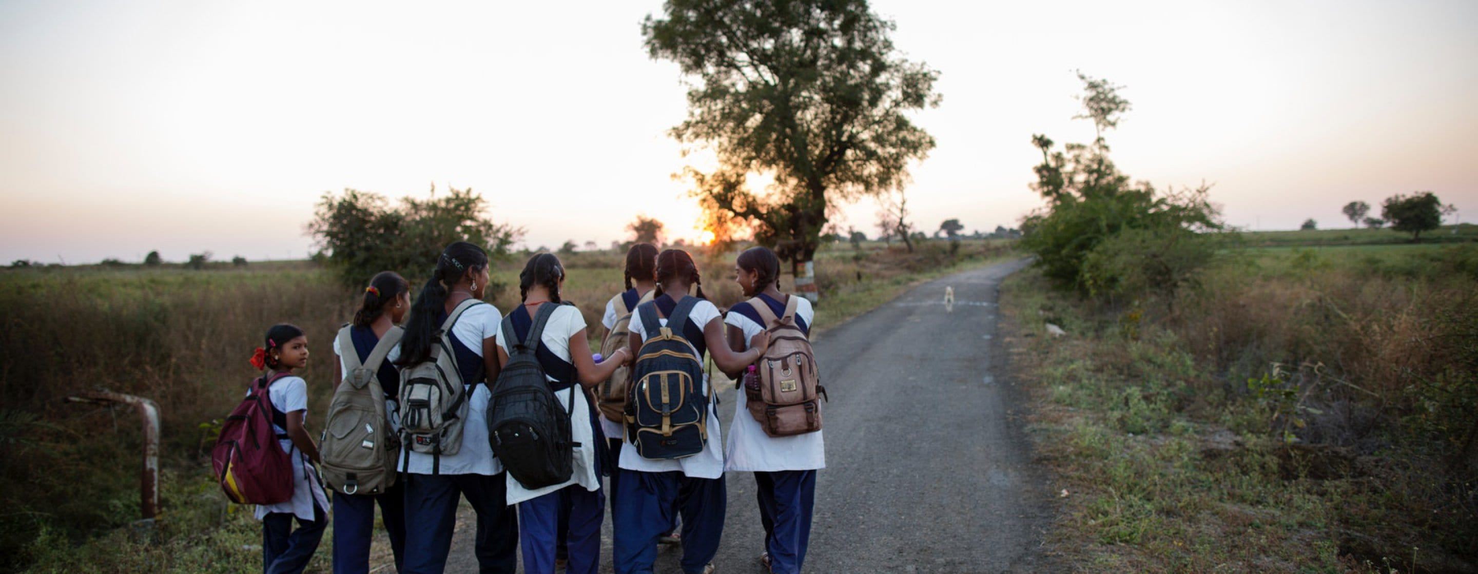 A group of schoolgirls on their way to school.