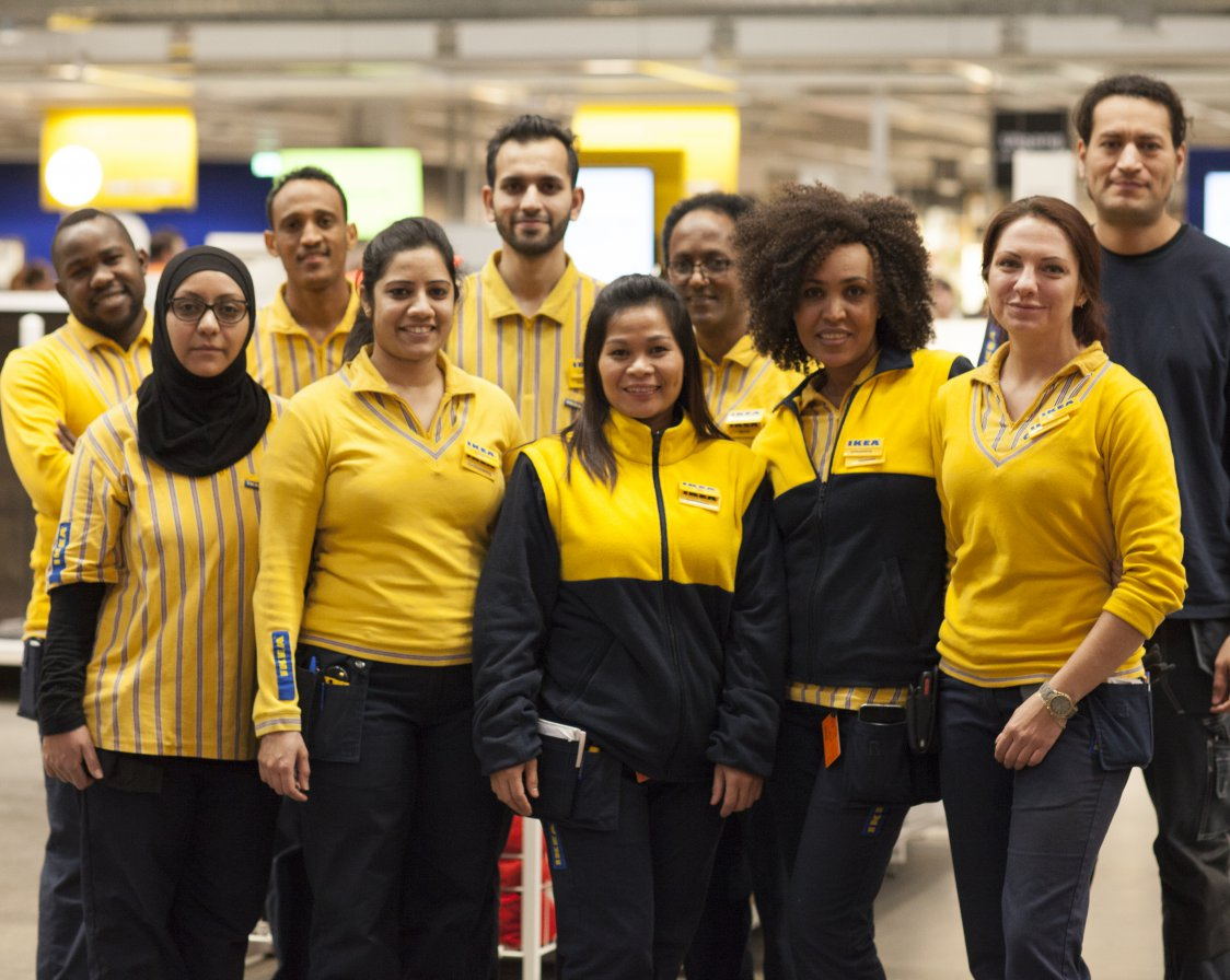 A group of employees in the IKEA store.
